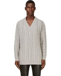 Maison Martin Margiela Grey Oversize Cable Knit Sweater - Lyst