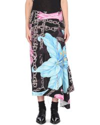 Yohji Yamamoto Floralprint Wool Skirt Mocha - Lyst