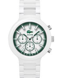 Lacoste Mens Chronograph Borneo White Resin Composite Bracelet Watch 44mm - Lyst