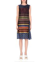 Dries Van Noten Contrast Striped Satin Dress - For Women - Lyst