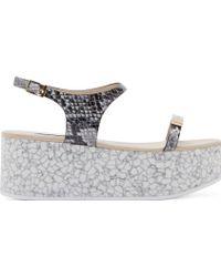 Stella McCartney Black And Grey Marble Platform Sandals - Lyst