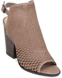 Vince Camuto Madesti Leather Laser-Cut Open-Toe Sandals - Lyst