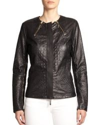 Just Cavalli Perforated Leather Biker Jacket - Lyst