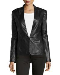 Halston Heritage Knit-Panel Leather Blazer black - Lyst