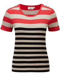 Cc Petite Button Shoulder Stripe Jersey Top - Lyst