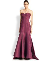 Zac Posen Silk Faille Strapless Gown purple - Lyst