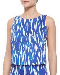 Milly Sleeveless Brushstroke Crop Top - Lyst