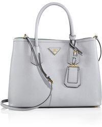 Prada Daino Sidepocket Tote Bag in Blue | Lyst