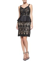 Sue Wong Sweetheart-neck Peplum Cocktail Dress - Lyst