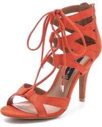 Steven By Steve Madden Gingir Lace Up Sandals Orange - Lyst