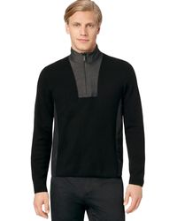 Calvin Klein Quarterzip Mix Media Milano Sweater - Lyst