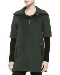 Elie Tahari Cynthia Zip-Front Layer-Sleeve Coat - Lyst