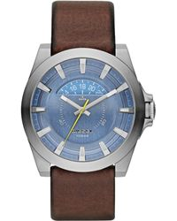 Diesel Mens Arges Brown Leather Strap Watch 50x46mm - Lyst