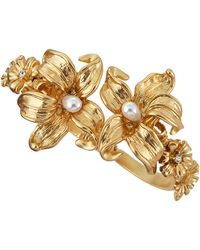 Kenneth Jay Lane Pearly Crystal Accented Flower Cuff Bracelet - Lyst