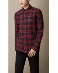 Burberry Check Flannel Shirt - Lyst