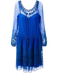 Alberta Ferretti Lace Detail Dress - Lyst