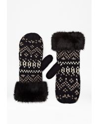 French Connection Lina Faux Fur Mittens - Lyst