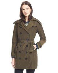 Burberry Brit - 'balmoral' Taffeta Trench Coat With Detachable Hood - Lyst