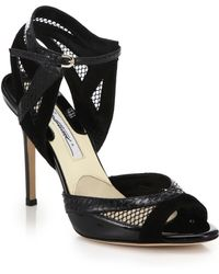 Brian Atwood Mesh, Suede & Snakeskin Sandals - Lyst