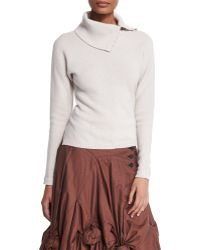 Creatures of the Wind - Split-neck Ribbed Cashmere-blend Sweater - Lyst