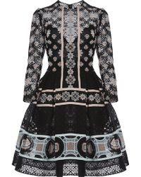 Elie Saab | Striped Flower Macramé Short Dress | Lyst