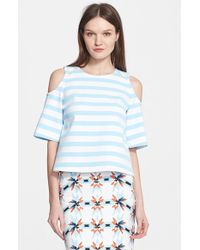 Tanya Taylor 'Iris' Stripe Cold Shoulder Top - Lyst