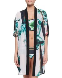 Clover Canyon Liquid Jade Printed Open Cover-Up - Lyst