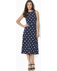 Ralph Lauren Lauren Petites Dress Sleeveless Polka Dot Print - Lyst