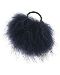 Eugenia Kim Antonia Fur Hair Tie - Navy - Lyst