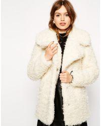Asos Faux Curly Fur Coat - Lyst