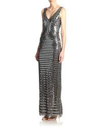 Basix Black Label Sequin V-Neck Gown - Lyst