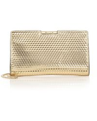Milly Geo Debossed Small Metallic Leather Frame Clutch - Lyst