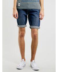 Topman Mid Wash Denim Shorts - Lyst