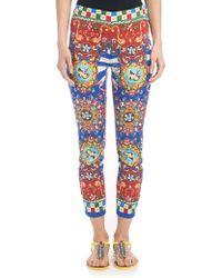 Dolce & Gabbana | Printed Charmeuse Leggings | Lyst