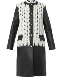 Balenciaga Shearling and Leather Collarless Coat - Lyst