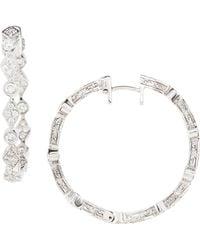 Penny Preville White Gold Mixed-shape Diamond Hoop Earrings - Lyst