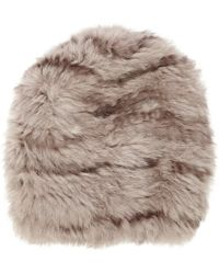 Barneys New York Fur Slouchy Beanie white - Lyst