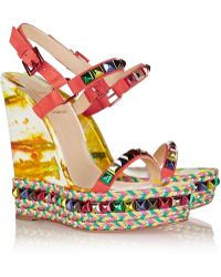 Christian Louboutin Cataclou 140 Embellished Suede And Leather Wedge Sandals - Lyst