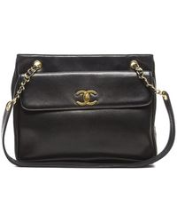 Chanel Black Lambskin Front Pocket Shoulder Bag - Lyst