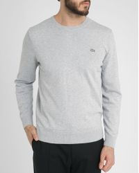 Lacoste Mottled Grey Round-Neck Sweater With Elbow Details - Lyst