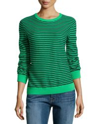 Halston Heritage Gauge Knit Mini-stripe Sweater - Lyst