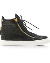 Giuseppe Zanotti London Embossed-Leather High-Top Sneakers - Lyst