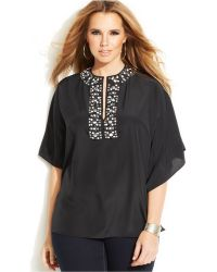 Michael Kors Michael Plus Size Batwing-Sleeve Embellished Top - Lyst