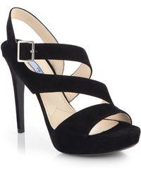 Prada Strappy Suede Platform Sandals - Lyst