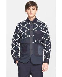 Junya Watanabe Zigzag Print Canvas Shirt Jacket blue - Lyst