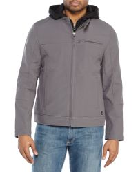Kenneth Cole Reaction Hooded Soft Shell Jacket - Lyst
