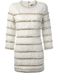 Balmain Chain Embellished Lace Dress - Lyst