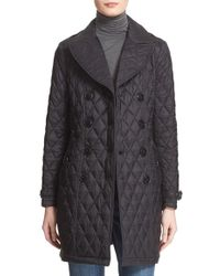 Burberry Brit - Diamond Quilted Double Breasted Trench Coat - Lyst