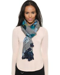 Tory Burch Persica Striped Scarf - Blue Multi - Lyst