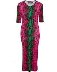 House of Holland Pink Midi Jersey Dress - Lyst